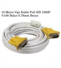 10 Metre Vga Kablo Full HD 1080P %100 Bakır 0.78mm Beyaz