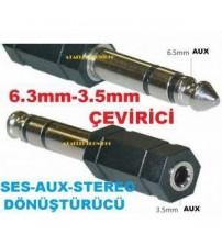 3.5mm DİŞİ AUX STEREO SES 6.3mm ERKEK