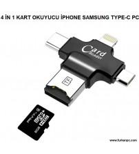 4 İN 1 Kart Okuyucu İos Type-C Micro Usb
