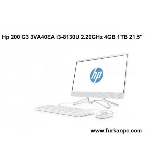 "HP 21.5"" 200 G3 3VA40EA İNTEL İ3-8130U 2.2Ghz  4GB 1TB"