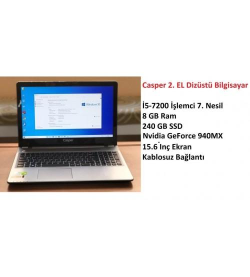 Casper 2. EL Laptop İ5-7200 İşlemci 8 GB 240 GB SSD 940MX 4GB Vga