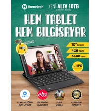 Hometech Alfa 10TB 4GB 64GB 10.1 İnç Pc Tablet Klavyeli