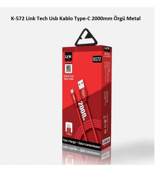 K-572 Link Tech Usb Kablo Type-C 2000mm Örgü Metal