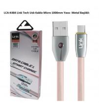 LCA-K484 Link Tech Usb Kablo Micro 1000mm Yassı  Metal Başlıklı