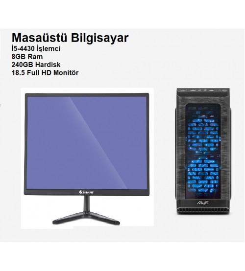 Masaüstü Bilgisayar İ5-4430 8GB 240GB 18.5 Full HD Mon.