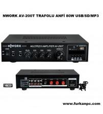 NWORK AV-200T TRAFOLU ANFİ 80W USB/SD/MP3