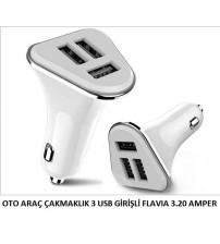 OTO ARAÇ ÇAKMAKLIK 3 USB GİRİŞLİ FLAVIA 3.20 AMPER
