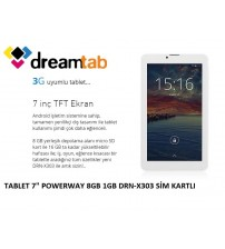 "TABLET 7"" POWERWAY 8GB 1GB DRN-X300 SİM KART 1024X600"