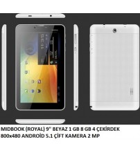 "TABLET 9"" MIDBOOK ROYAL 1GB/8GB/ 4 ÇEKİRDEK ÇİFT KAMERA"