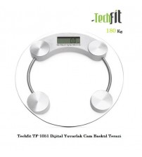 Techfit TF-1051 Dijital Yuvarlak Cam Baskül Terazi 180Kg