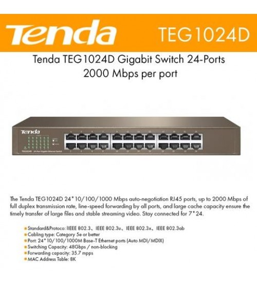 Tenda TEG1024D 24 Port 10/100/1000 Rack-M Switch