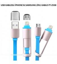 USB KABLOSU  İPHONE & SAMSUNG İKİZ UÇ SARJ 2İN1 KABLO FT-2538